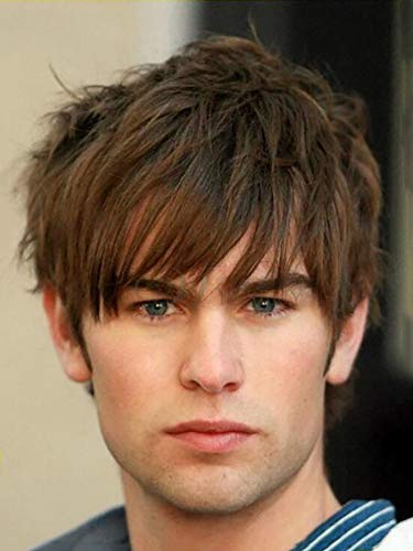 Baruisi Mens Short Wig Brown Layered Natural Synthetic Costume Cosplay Hair Wig for Boy Male