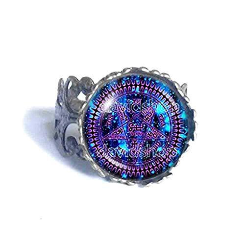 Handmade Fashion Jewelry Pentagram Symbol Art Black Butler Ring Cosplay Tetragrammaton Ciel Phantomhive Jewelry Charm