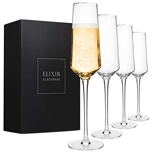 Classy Champagne Flutes - Hand Blown Crystal Champagne Glasses - Set of 4 Elegant Flutes, 100% Lead Free Premium Crystal - Gift for Wedding, Anniversary, Christmas - 8oz, Clear