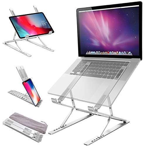 Jondarla Ergonomic Laptop Standfor Desk, Sturdy Aluminium Laptop Riser with 6+9 Adjustable Levels, Portable Foldable Laptop Holder, Compatible with All Notebooks iPads Tablets up to 17.3'