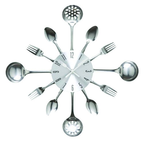 Timelike Wall Clock, 16' Metal Kitchen Cutlery Utensil Spoon Fork Wall Clock Creative Modern Home Decor Antique Style Wall Watch (Silver)