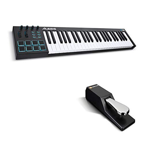 MIDI Controller Bundle | 49 Key USB MIDI Keyboard with 8 Beat Pads, Sustain Pedal and Software Suite – Alesis V49 and M-Audio SP-2