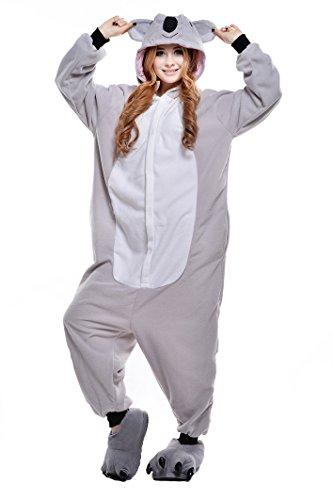 CANASOUR Unisex Halloween Womens Onesie Costume Party Grey Koala Cosplay Costume (Small)