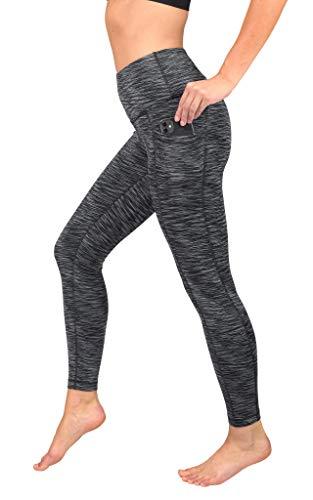 90 Degree By Reflex High Waist Tummy Control Interlink Squat Proof Ankle Length Leggings - Snow Black Space Dye - Medium