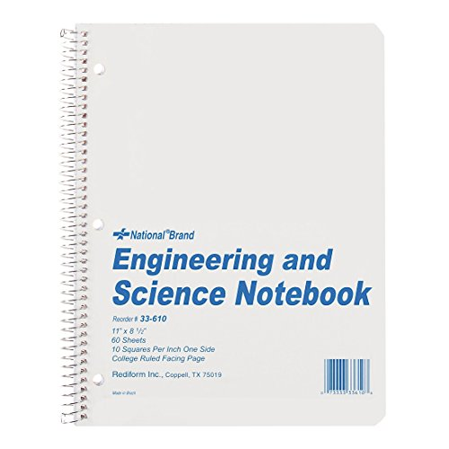 NATIONAL Engineering & Science Notebook, White, 11' x 8.5', 60 Sheets (33610)
