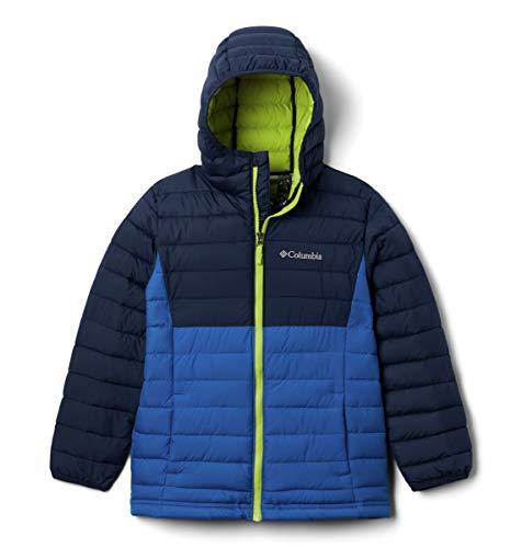 Columbia Youth Boys Powder Lite Hooded Jacket, Bright Indigo/Collegiate Navy, Small
