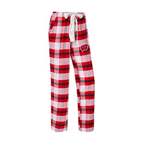 Concepts Sport University of Wisconsin Badgers Women's Flannel Pajamas Plaid PJ Bottoms (Large)