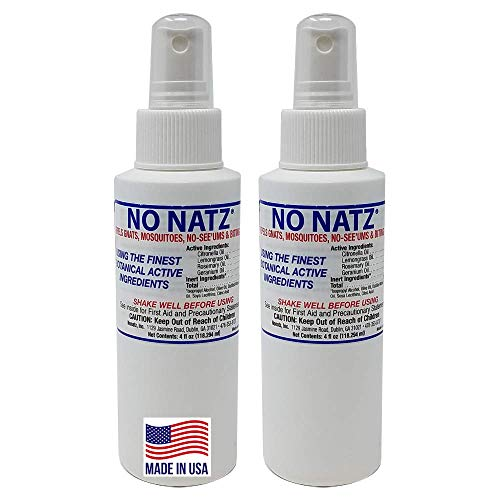 No Natz | Botanical Bug Repellant | Effective for Gnat, Mosquito and Biting Flies | Hand-Crafted DEET-Free Hypoallergenic | Non-Greasy Formula … (4fl.oz. - (Pack of 2))