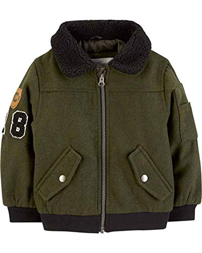 Carter's Baby Boys' Infant Olive Faux Wool Bomber Jacket, Olive, 24M