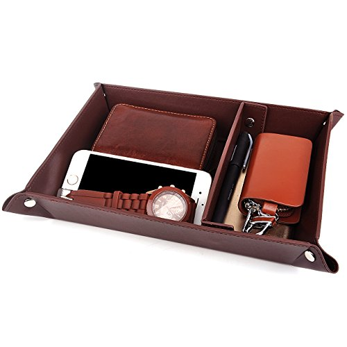 Valet Tray Jewelry Organizer,PU Leather Watch Box Coin Change Key Tray for Storage Coffee