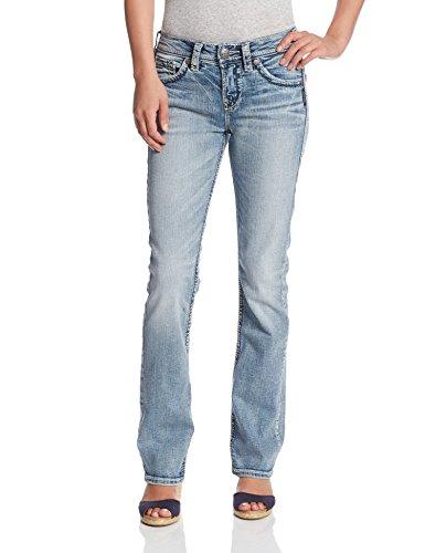 Silver Jeans Co. Women's Suki Curvy Fit High Rise Baby Bootcut Jean, Light Wash Indigo, 33W X 33L