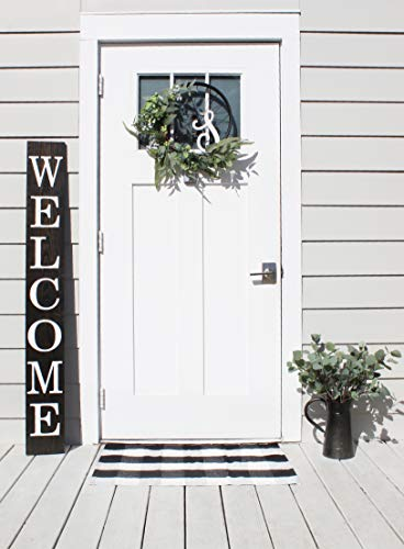 Smith Farm Co Welcome Sign for Front Door 5 ft Solid Wood Rustic Front Door Decor Farmhouse Porch Decor (Classic Black)