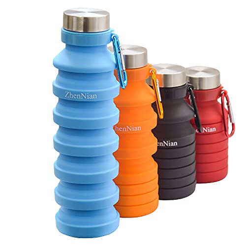 ZhenNian Collapsible Water Bottles,Lightweight Foldable Silicone Sports Bottle,Leak Proof Water Bottles for Outdoor Camping Hiking,BPA Free 18oz Portable Bottle with Carabiner (Blue)