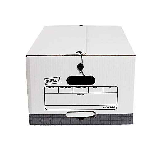 Staples 804205 Medium Duty String & Button Corrugated Boxes LTR/Lgl White/Gray 4/Pk