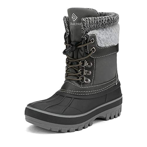 DREAM PAIRS Boys Girls Cold Weather Insulated Waterproof Winter Snow Boots Size 13 M US Little Kid KMONTE-1 Black Grey