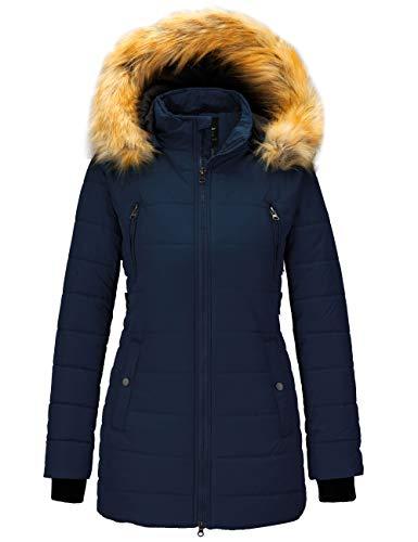 Wantdo Women's Parka Winter Coats Padded Outwear Hoodie Puffer Coats Dark Blue L