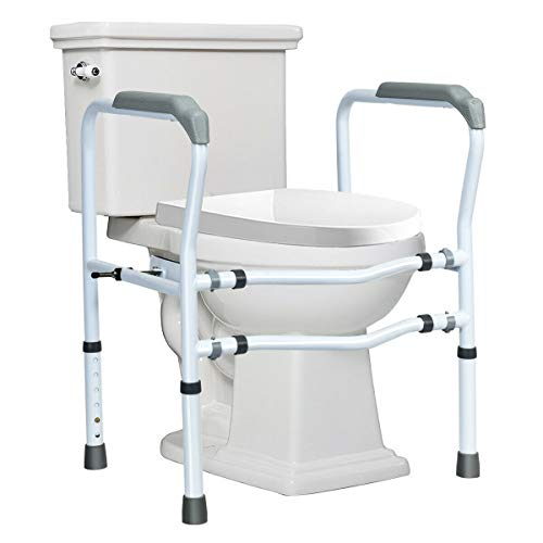 Giantex Toilet Safety Rail Free Standing Toilet Rail W/ 360°Rotatable Clip,Adjustable Height & Width Toilet Armrest 300 LBS Weight Capacity for Disable Elderly Bathroom Toilet Safety Rail