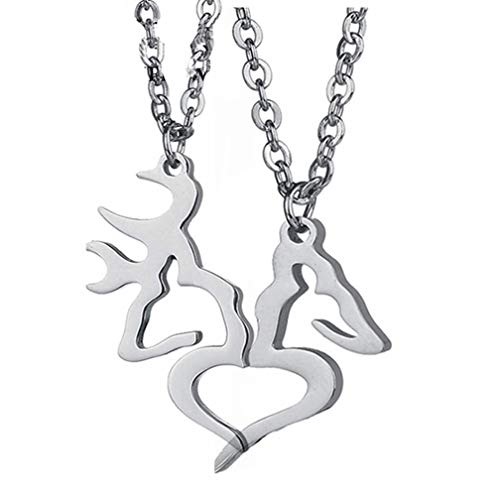4EAELove Elk Necklace Promise Couple Gift Her Buck His Doe Engraved Valentine's Day Alloy Stainless Steel (ELK Necklace)