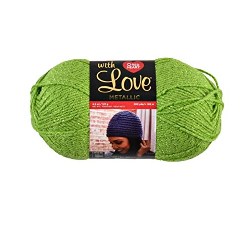 Red Heart with Love Metallic Yarn, Lime