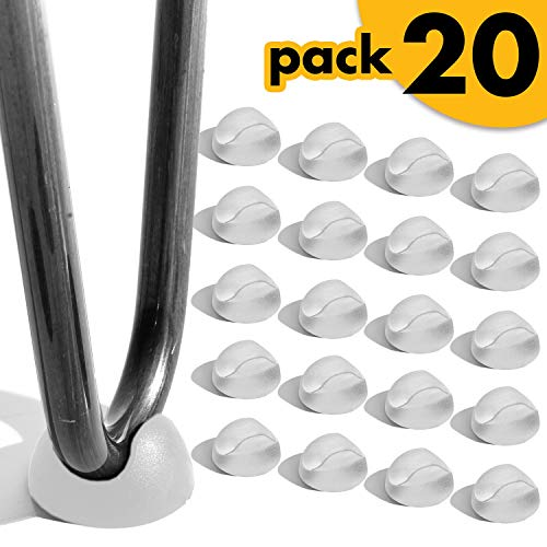 Hairpin Leg Protector 20 Pcs - Tight Fit to 3/8 and 1/2 Inches Thick Rod, Furniture Table Chair Desk Leg Rubber Caps - Set of 20 - Clear(Transparent)
