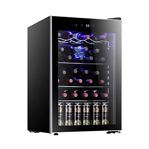 Antarctic Star 36 Bottle Wine Cooler/Cabinet BeverageRefrigerator Small Mini Red & White Wine Cellar Beer Soda Counter Top Bar Fridge Quiet Operation Compressor Adjust Temperature Freestanding Black