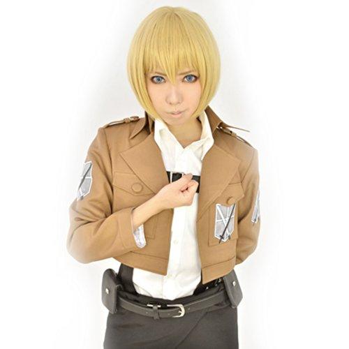 Amybria Short Gintama Sakata Gintoki Heat Resistant Cosplay Full Hair Wig Silver White (Dark Blonde)