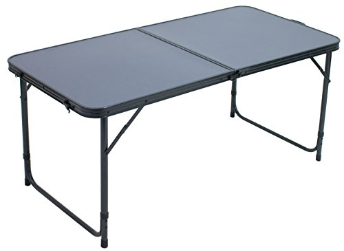 Rio Gear AT700-425-1 Centerfold Lightweight Heat-Resistant Folding Table for Outdoor and Indoor Use, Dark Grey