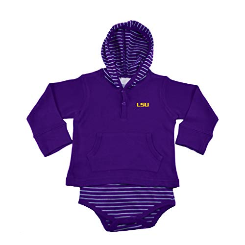 Two Feet Ahead NCAA LSU Tigers Baby Striped Hooded Sweatshirt Creeper, 12mo