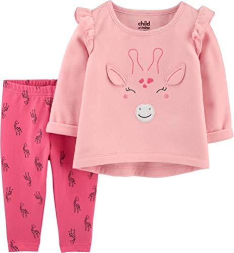 Carter's Baby Girl Long Sleeve Fleece Shirt and Pant Set (Giraffe - Pink/Fuschia, 6/9 Months)