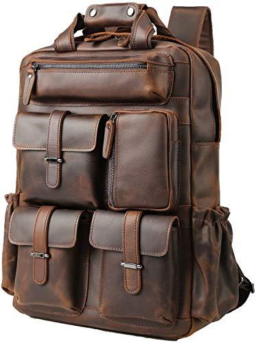 Genuine Leather Backpack for Men Vintage 15.6 Inch Laptop Bag Multi Pockets Rucksack Casual Travel Daypack Brown