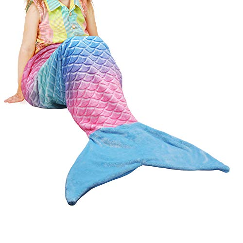 Catalonia Kids Mermaid Tail Blanket,Super Soft Plush Flannel Sleeping Snuggle Blanket for Girls,Rainbow Ombre,Fish Scale Pattern,Gift Idea