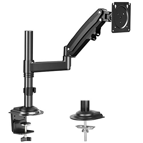HUANUO Single Monitor Mount Stand for 15-35'' Computer Screen- Gas Spring Height Adjustable Monitor Arm VESA Bracket Desk Mount with C Clamp Grommet Mounting Base, Hold 4.4 to 26.5 lbs