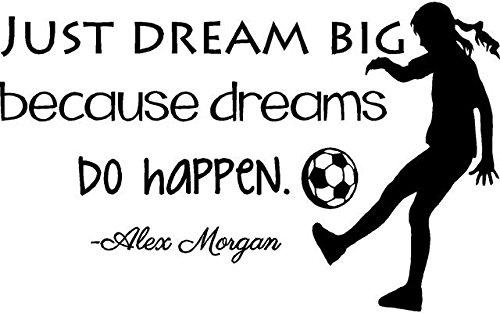 Alex Morgan Soccer Quote | Girl's Vinyl Wall Decal/Decor - USA World Cup Football Decoration - 20'x12' [V12]