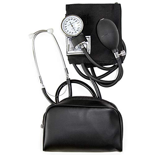 HealthSmart Manual Blood Pressure Monitor for Adult Upper Arm, Standard Cuff Size 10-14 inches with Attached Stethoscope, Black (04-174-021)