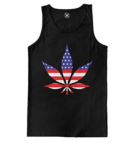 American Flag Marijuana Leaf - USA Weed Pot Men's Tank Top (Black, X-Large)