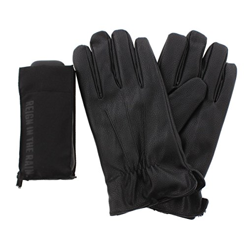 Kenneth Cole Reaction Mens Faux Leather Umbrella Everyday Gloves Black XL
