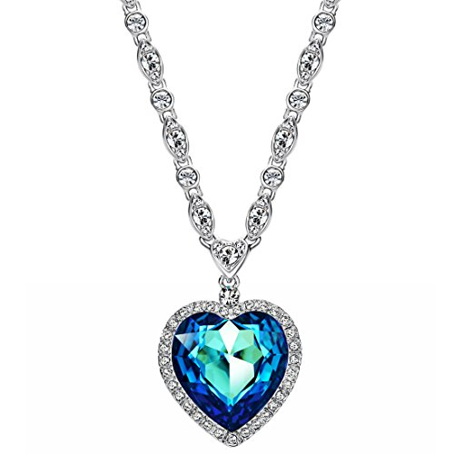 Neoglory Blue Crystal Heart Pendant Necklace For Women Heart of The Ocean Titanic Big Heart Pendant Women Necklace21' embellished with Crystals from Swarovski ,LADY COLOUR Mother's Day Jewelry Gifts