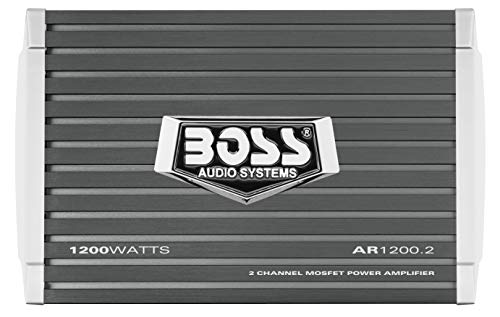 BOSS Audio Systems AR1200.2 2 Channel Car Amplifier - 1200 Watts, Full Range, Class AB, 2-4 Ohm Stable, Mosfet Power Supply, Bridgeable, Black, 1200 WATTS