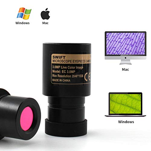Swift 3.0 Megapixel Digital Camera for Microscopes, Eyepiece Mount, USB 2.0 Connection, Color Photography and Video, Windows and Mac Compatible