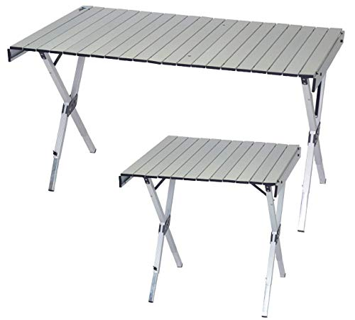 Rio Brands Gear Compact Expandable Outdoor and Camping Aluminum Roll-Top Heat Dissipating Picnic Table, Silver, 2 in 1