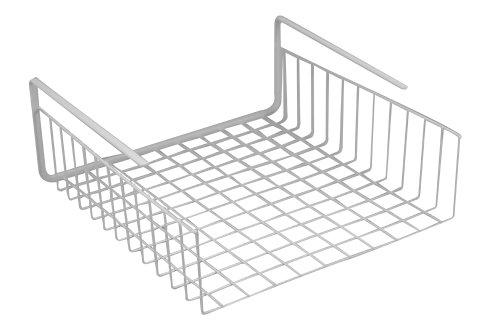 Southern Homewares Under Shelf Basket Wire Wrap Rack White Storage Organizer for Kitchen Pantry, 12 1/2' x 12 1/2' x 5'