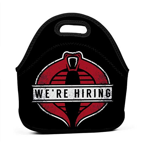 Phyllis Cissie Reusable G-I J-Oe Cobra Commander We'Re Hiring Lunch Bag For Kids Boys Girls Portable Lunch Box Insulated Lunch Tote Soft Bento Cooler Thermal Bags For School Office
