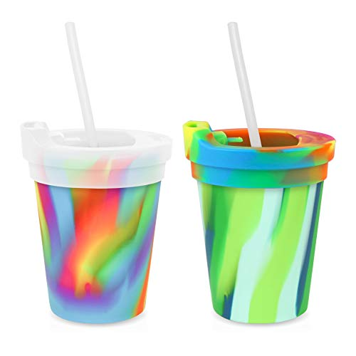 Silipint Silicone Kids 8oz Cups Hippie Hop & Sea Swirl, U.S. Patented, Unbreakable, Sealable Lid, Silistraws Included (2 Cups/Lids and Straws)