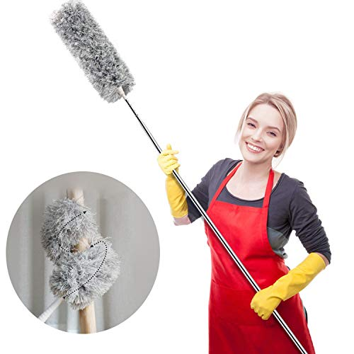 Webster Cobweb Duster, Showroom Microfiber Duster Extendable Ideal for Cleaning Blinds Ceiling Fans Interior Roof TV Bookcases Eco-Friendly Hand Dusteroof TV Bookcases Eco-Friendly Hand Duste