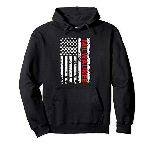 Milwaukee USA Black & White Flag Pullover Hoodie