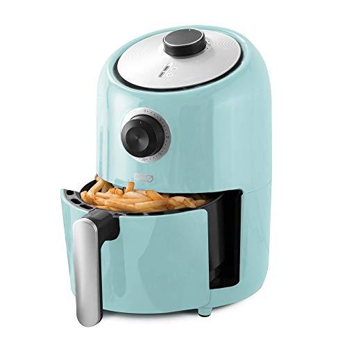 Dash DCAF150GBAQ02 Compact Air Fryer Oven Cooker with Temperature Control, Non Stick Fry Basket, Recipe Guide + Auto Shut off Feature, 1.2 qt, Aqua