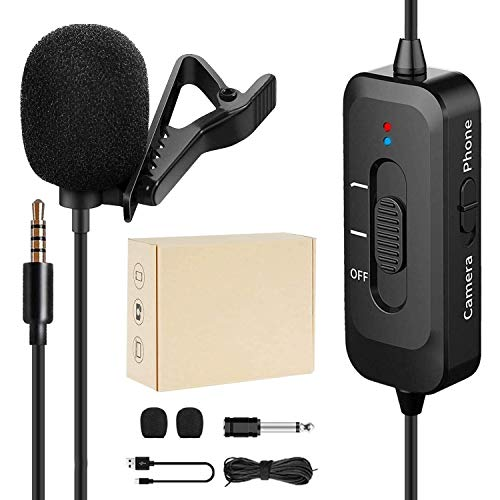 Professional Lavalier Lapel Microphone,Microphone for iPhone with USB Charging, Omnidirectional Lapel Mic with Noise Reduction for Android Smartphone ,Video Recording,YouTube, Interview, Vlogging
