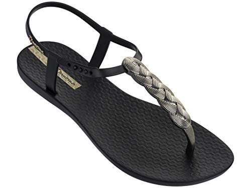 Ipanema Braid Women's Sandals, Black/Gold (7 US)
