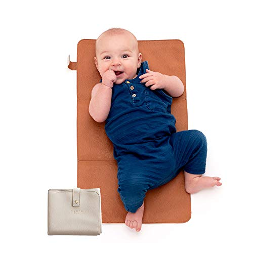 Elkie & Co. Baby Vegan Leather Diaper Changing Pad I Portable, Waterproof, Minimalist, Compact, Travel Change Mat