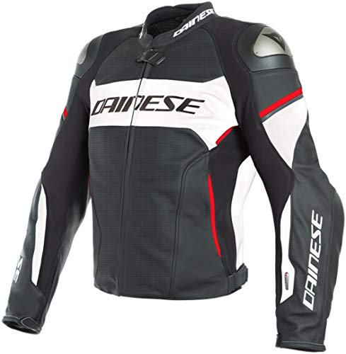 Dainese Racing 3 D-Air Leather Perforated Motorcycle Jacket - Black/White/Lava-Red - 54 Eu